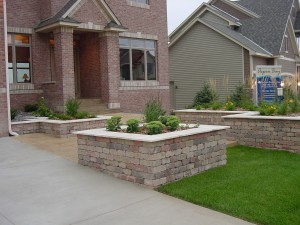 Brick Paver Driveway, Patio, and Retainer Wall and Landscape Design